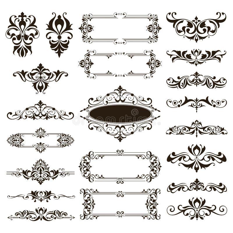 Il vettore ornamentale dei confini e degli angoli del pizzo di progettazione ha messo gli elementi degli ornamenti floreali di ar illustrazione di stock