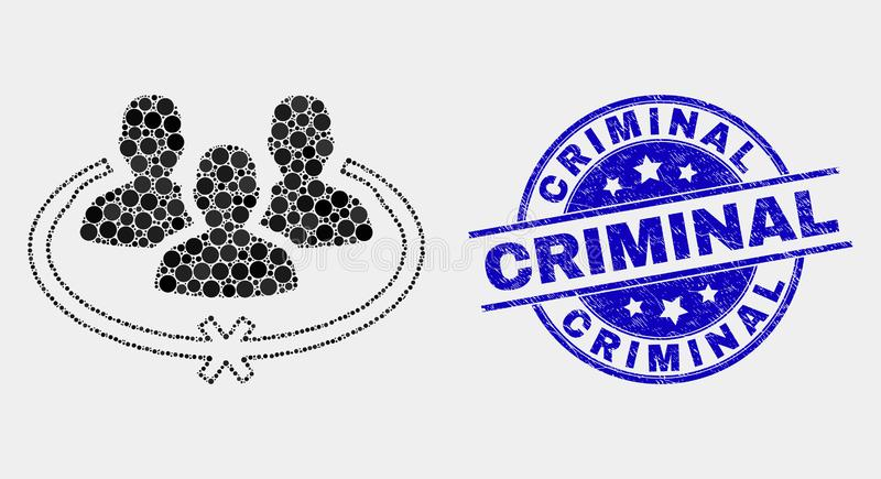 Il vettore Pixelated ha imprigionato l'icona delle persone e la guarnizione criminale di lerciume royalty illustrazione gratis