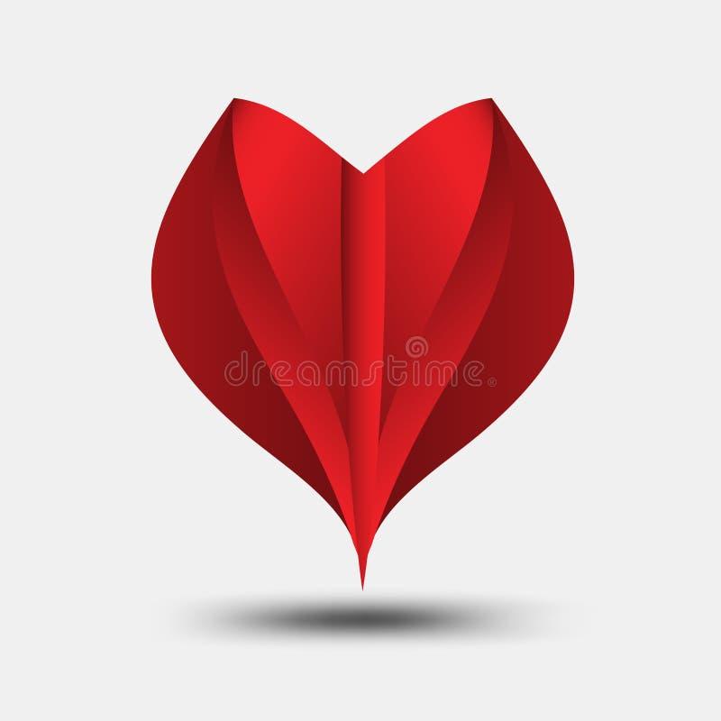 Il vettore poligonale del cuore rosso, l'icona del cuore, il logo della maglietta, l'icona piana per i apps ed il sito Web, amano illustrazione vettoriale