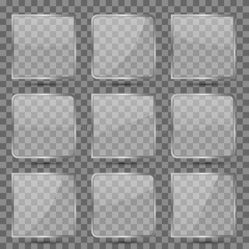Il vettore quadrato di vetro lucido si abbottona con la riflessione per il cellulare app royalty illustrazione gratis