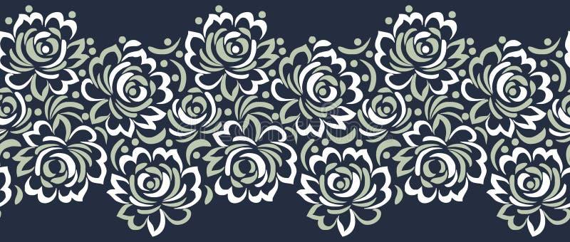 Il vettore senza cuciture è aumentato progettazione del confine del fiore illustrazione di stock