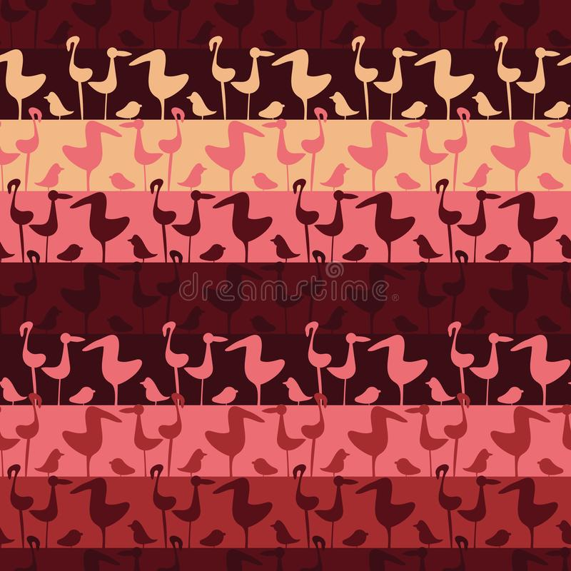Il vettore senza cuciture barra il modello con le file degli uccelli rosa illustrazione di stock