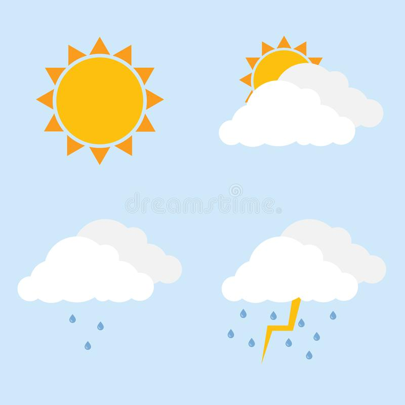 Il vettore sopravvive le icone Pioggia parzialmente nuvolosa e leggera, tempesta Nuvola, sole, gocce di pioggia illustrazione vettoriale
