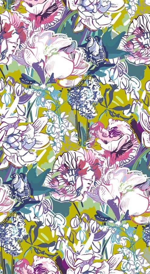 Il vettore sudicio del modello della pittura del fiore del giardino ha strutturato royalty illustrazione gratis