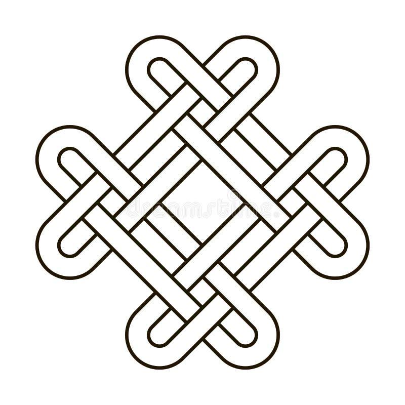 Il vettore tribale trasversale antico geometrico del nodo celtico ha annodato l'illustrazione di logo Ornamento spinoso del tatua illustrazione vettoriale