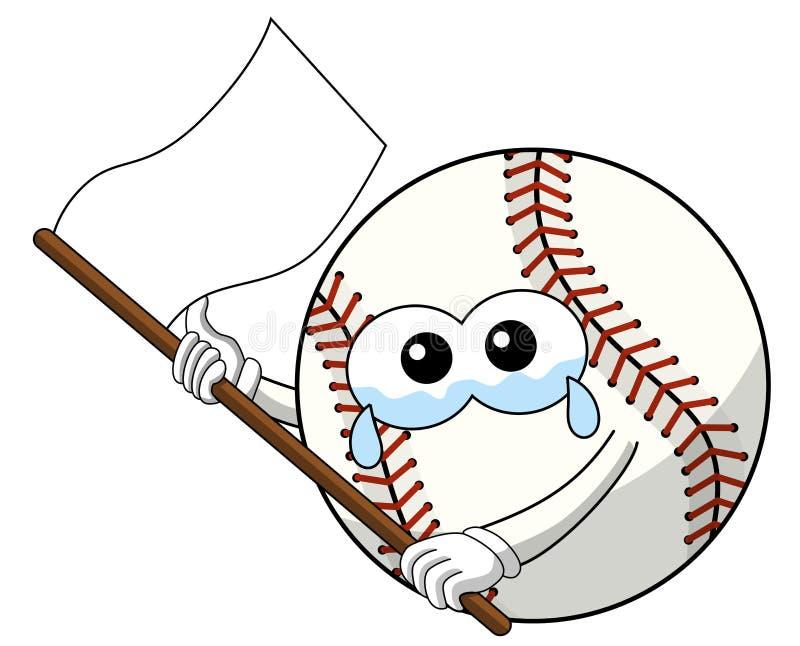 Il vettore triste della bandiera bianca del fumetto della mascotte del carattere della palla di baseball ha isolato royalty illustrazione gratis