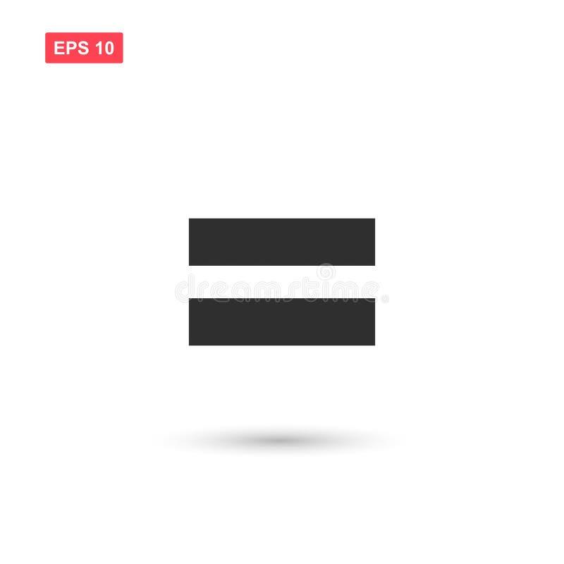 Il vettore uguale dell'icona di per la matematica ha isolato illustrazione di stock