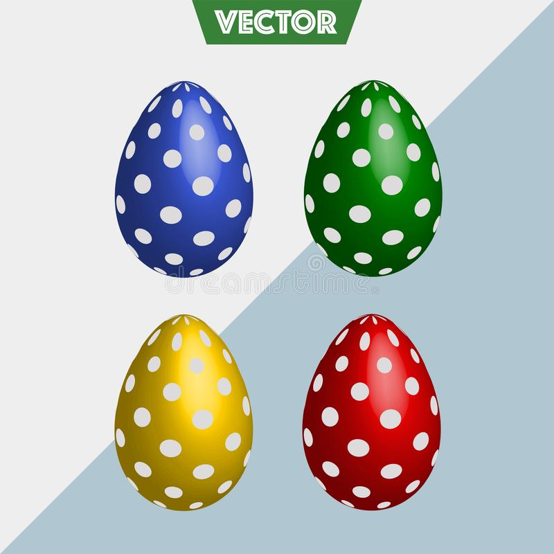 Il vettore variopinto 3D ha punteggiato le uova di Pasqua immagini stock libere da diritti