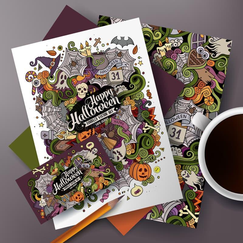 Il vettore variopinto sveglio del fumetto scarabocchia l'insieme di identità corporativa di Halloween illustrazione di stock
