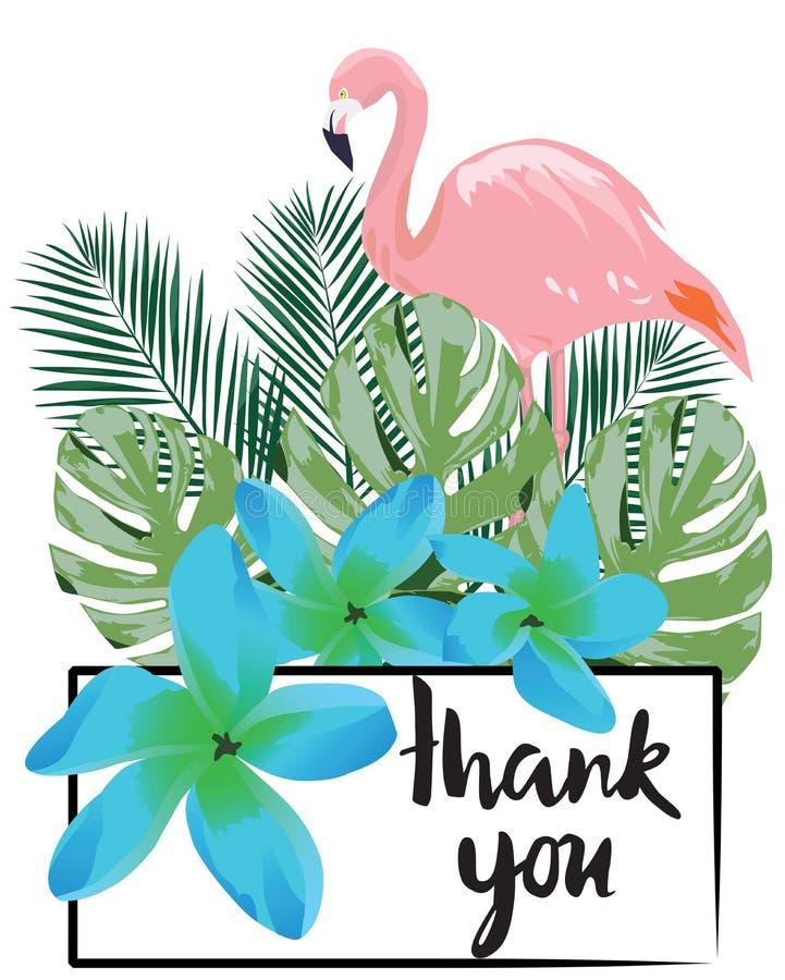 Il vettore vi ringrazia cardare con i fiori ed il fenicottero tropicali royalty illustrazione gratis