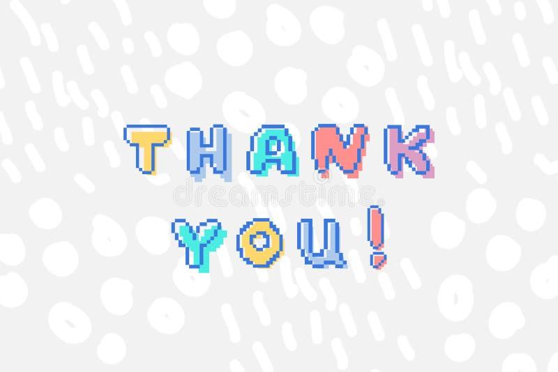 Il vettore vi ringrazia frase nello stile pungente di arte 8 del pixel illustrazione di stock