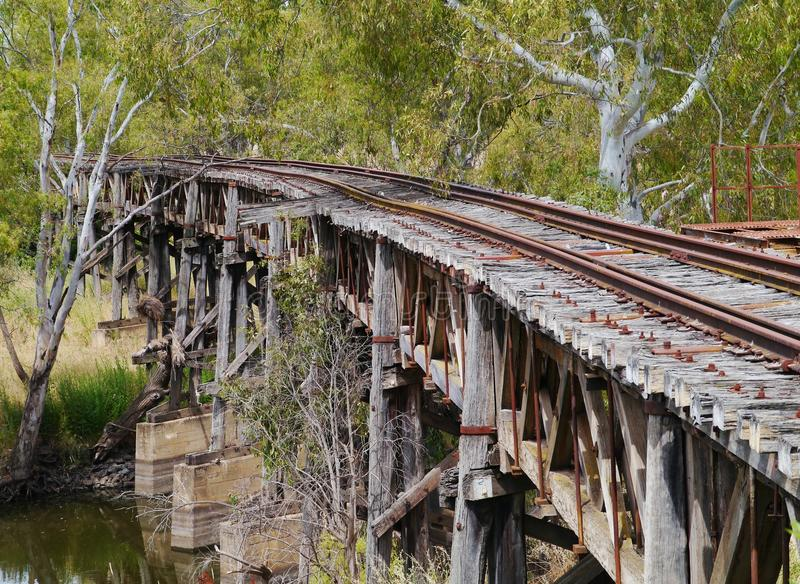 Il viadotto di legno della ferrovia in Gundagai fotografie stock