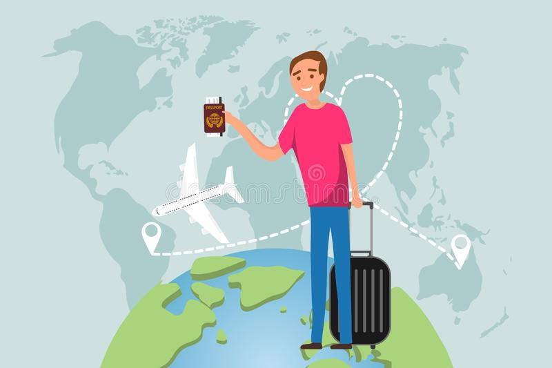 Il viaggiatore dell'uomo viaggia su pianeta Terra su un aereo Un uomo con la valigia ed il passaporto di un turista sta stando co illustrazione di stock