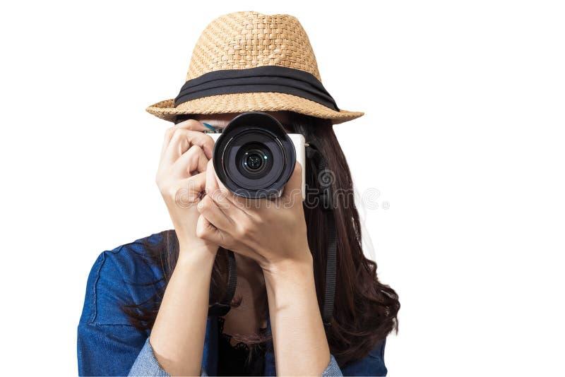 Il viaggiatore della donna che porta il vestito blu come fotografo, prende i wi della foto fotografia stock