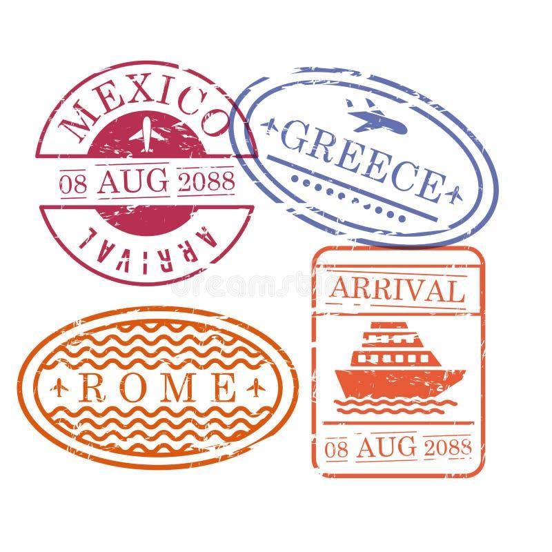 Il viaggio dell'aeroplano e della nave timbra nella forma ovale e circolare e rettangolare del Messico Grecia e di Roma in variop illustrazione vettoriale