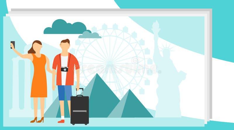 Il viaggio della donna e dell'uomo prende la foto contro il contesto dei punti di riferimento del mondo Gruppo di gente del viagg illustrazione di stock