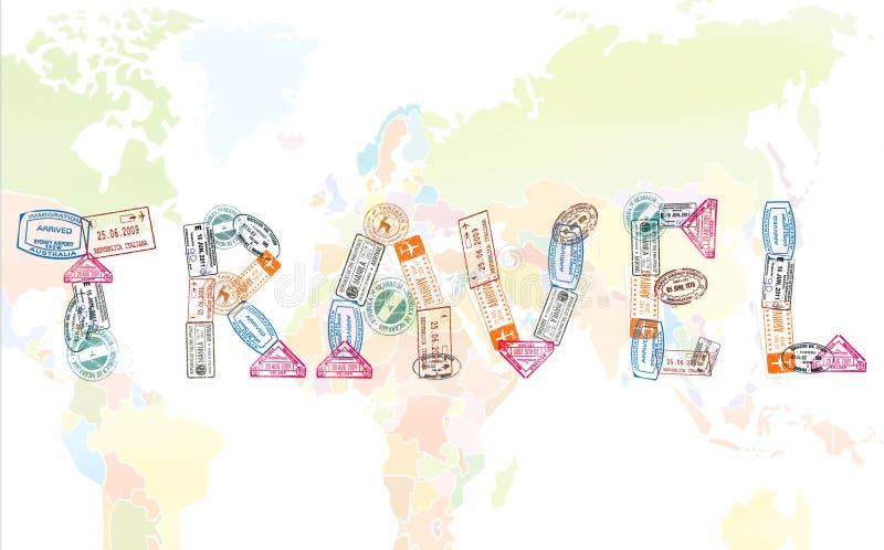 Il viaggio di parola creato con il passaporto timbra sul fondo della mappa di mondo, concetto di viaggio royalty illustrazione gratis