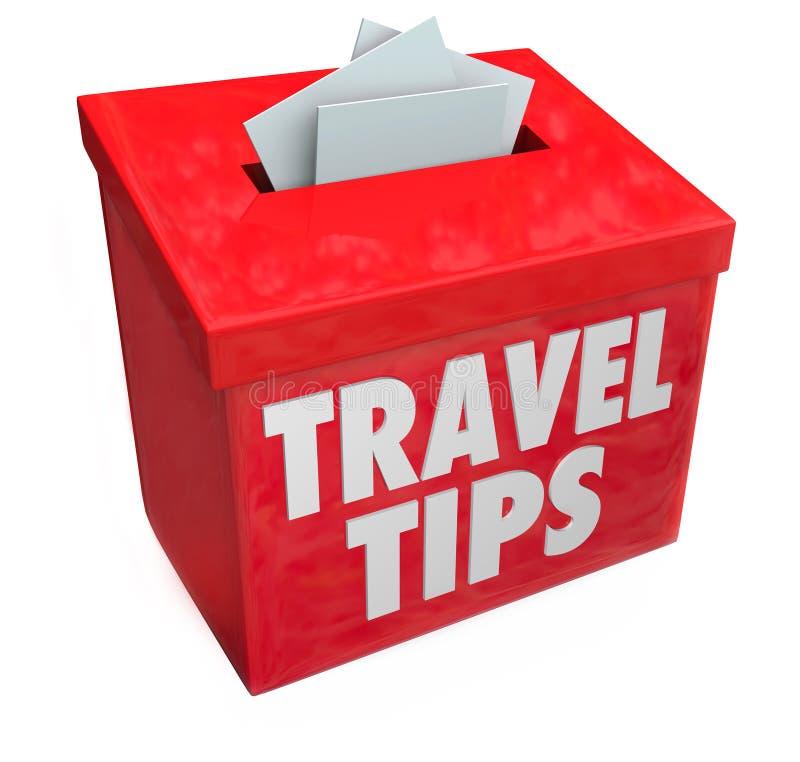 Il viaggio fornisce di punta le informazioni di consiglio di esami di risposte della scatola di suggerimento illustrazione di stock