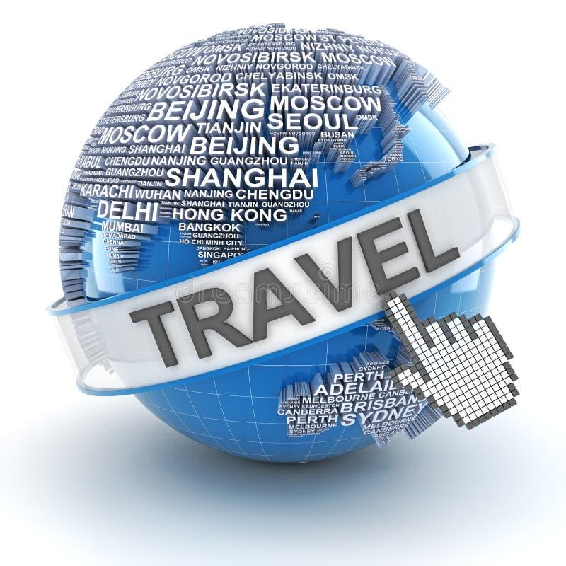 Il viaggio globale, 3d rende illustrazione vettoriale
