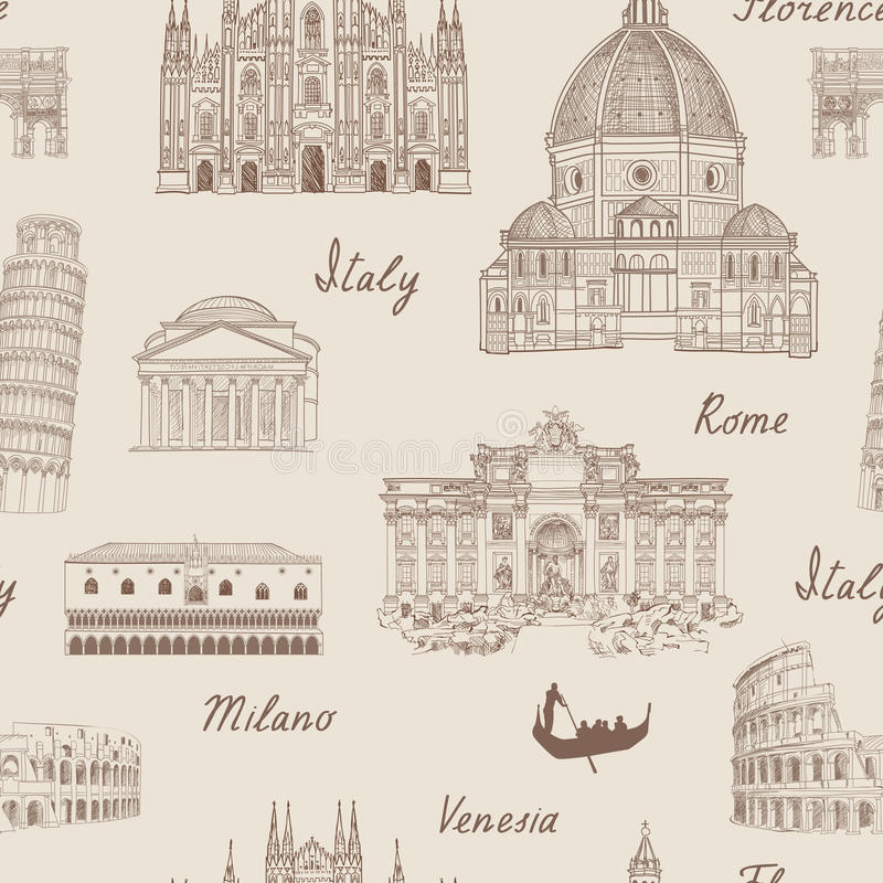 Il viaggio ha piastrellato il fondo Modello senza cuciture del punto di riferimento famoso dell'Italia illustrazione vettoriale