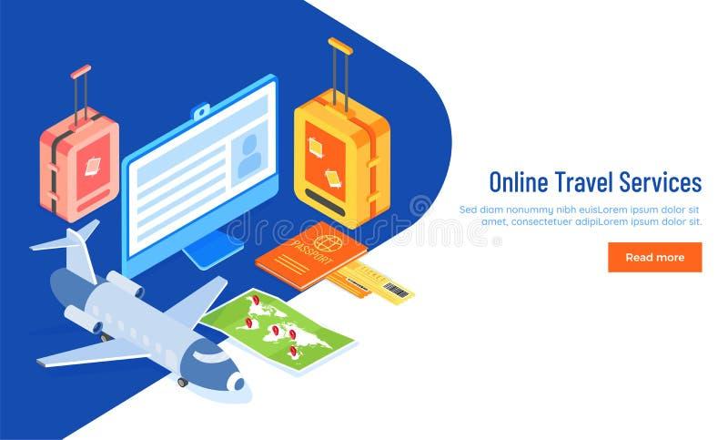 Il viaggio online assiste la pagina rispondente di atterraggio basata concetto o illustrazione di stock