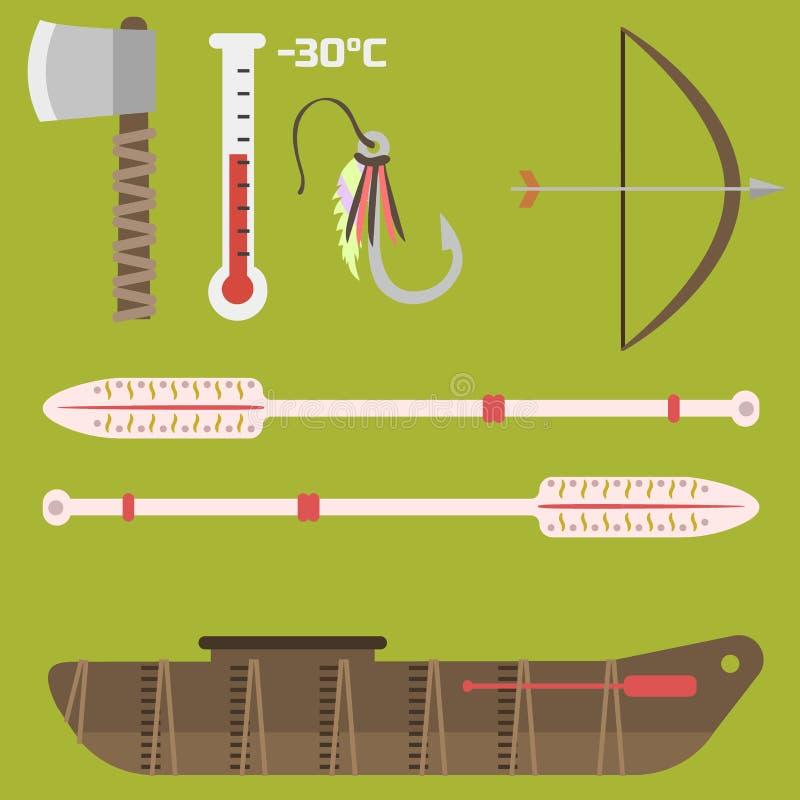 Il viaggio piano dell'america di vettore di stile di simboli di stato dell'Alaska foggia l'illustrazione artica del nord all'aper royalty illustrazione gratis