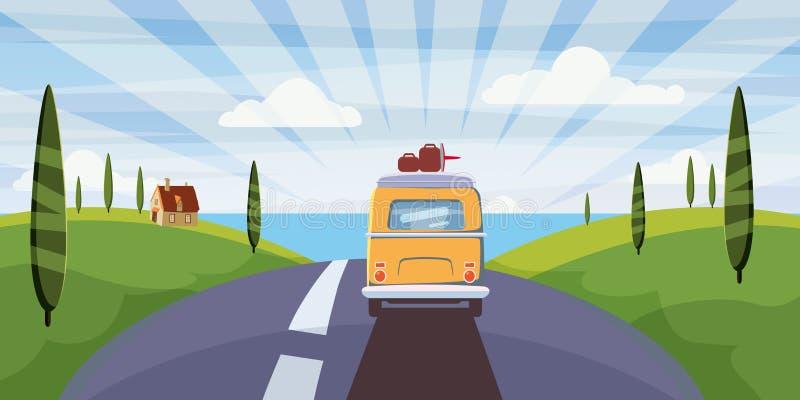 Il viaggio van camper, bus sulla strada va al mare per le vacanze estive Vacanza di ferie in mare Svago di viaggio illustrazione vettoriale