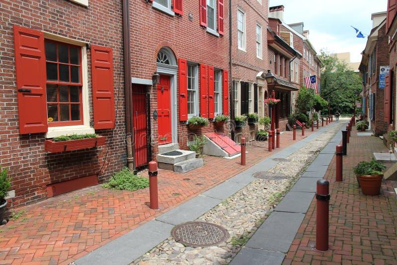 Il vicolo di Elfreth, Filadelfia immagini stock