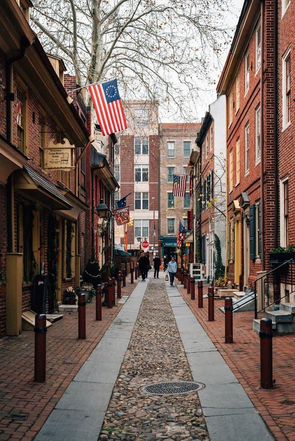 Il vicolo di Elfreth, in vecchia citt?, Filadelfia, Pensilvania immagine stock libera da diritti
