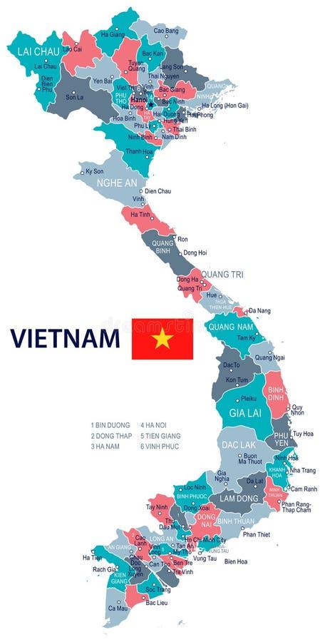 Il Vietnam - illustrazione della bandiera e della mappa royalty illustrazione gratis