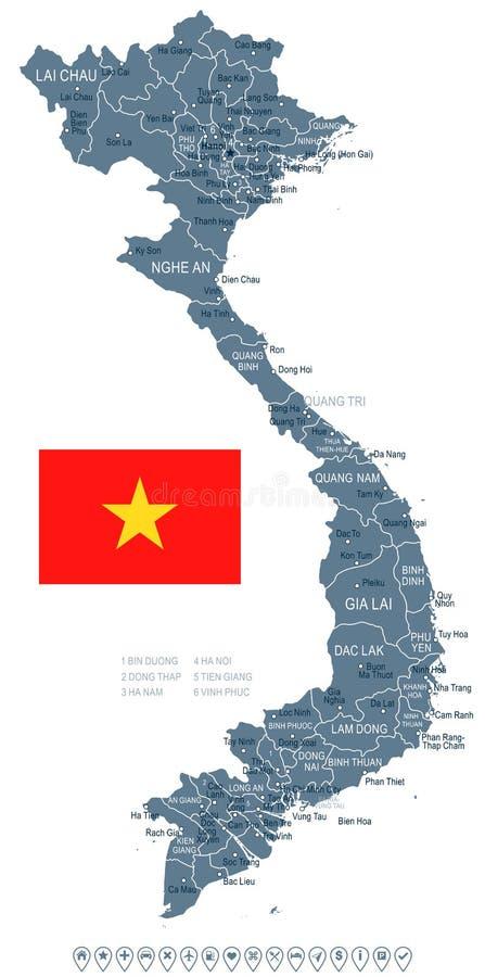 Il Vietnam - illustrazione della bandiera e della mappa illustrazione di stock