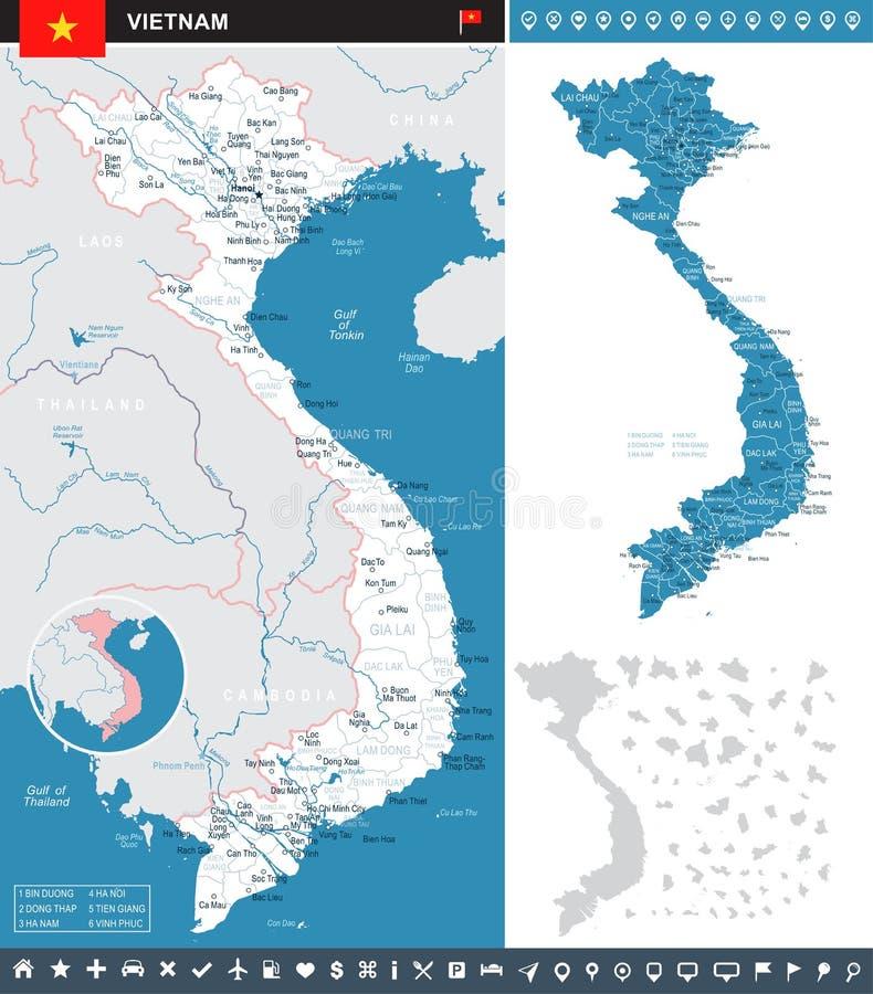 Il Vietnam - illustrazione infographic della bandiera e della mappa illustrazione vettoriale