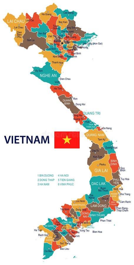 Il Vietnam - mappa e bandiera - illustrazione illustrazione vettoriale