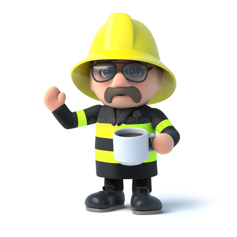 il vigile del fuoco 3d ha una pausa caffè illustrazione vettoriale
