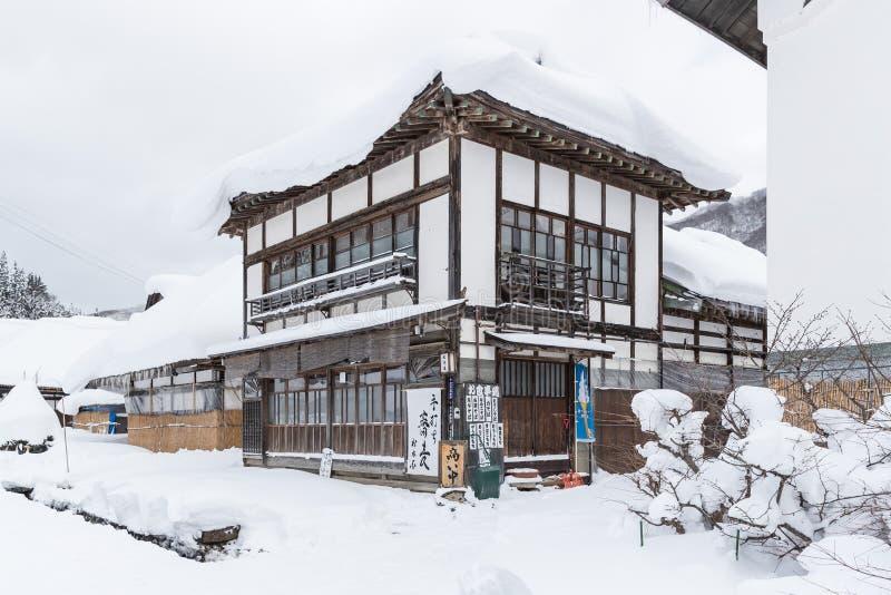 Il villaggio di Ouchijuku dell'inverno è una città di posta del fomer immagine stock