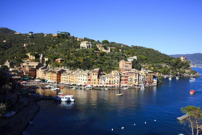 Il villaggio famoso di Portofino, Genova, Liguria, Italia immagine stock libera da diritti