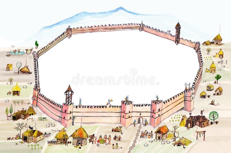 Il villaggio medievale e una fortezza murano l'illustrazione di colore disegnata a mano, parte dell'insieme medievale di serie illustrazione di stock