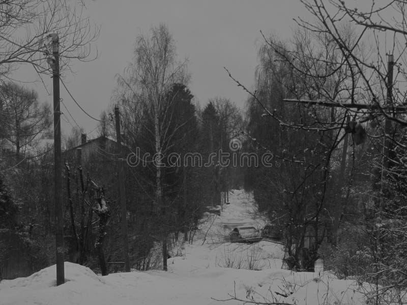 Il villaggio nell'inverno fotografie stock