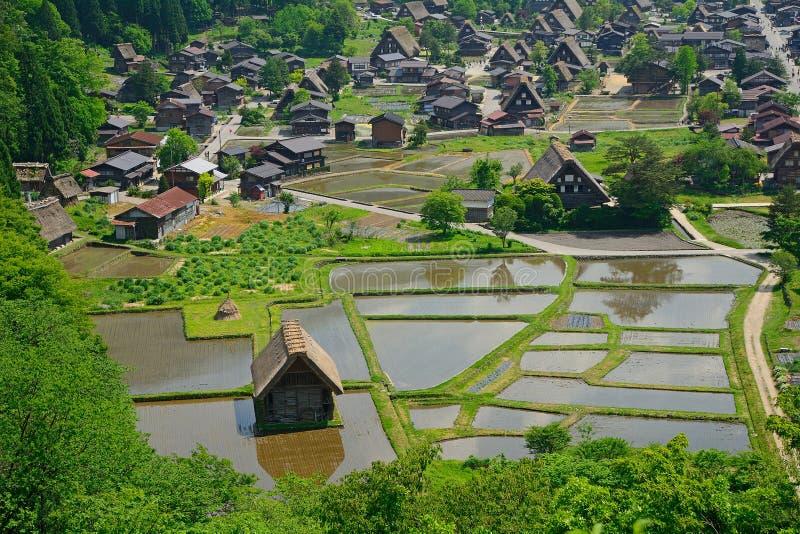 Il villaggio tradizionale, Shirakawa-va, il Giappone immagini stock libere da diritti