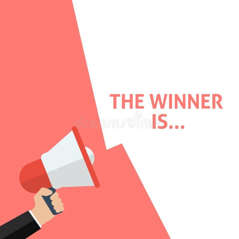 Il vincitore è? mage del colorfull di un podio Annuncio Megafono della tenuta della mano con il fumetto illustrazione vettoriale