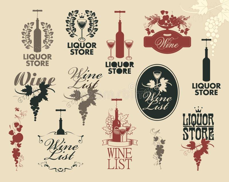 Il vino identifica la raccolta royalty illustrazione gratis