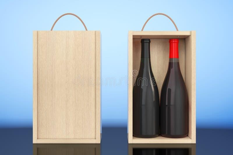 Il vino imbottiglia il pacchetto di legno in bianco del vino con la maniglia rappresentazione 3d illustrazione vettoriale