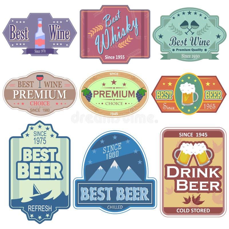 Il vino premio e la birra identificano l'autoadesivo dell'etichetta per la pubblicità illustrazione vettoriale