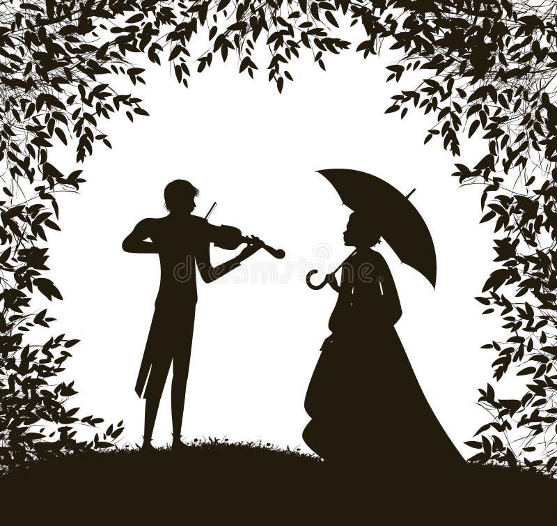 Il violinista gioca per la ragazza di s, data romantica eccellente, melodia dell'estate per voi, illustrazione di stock