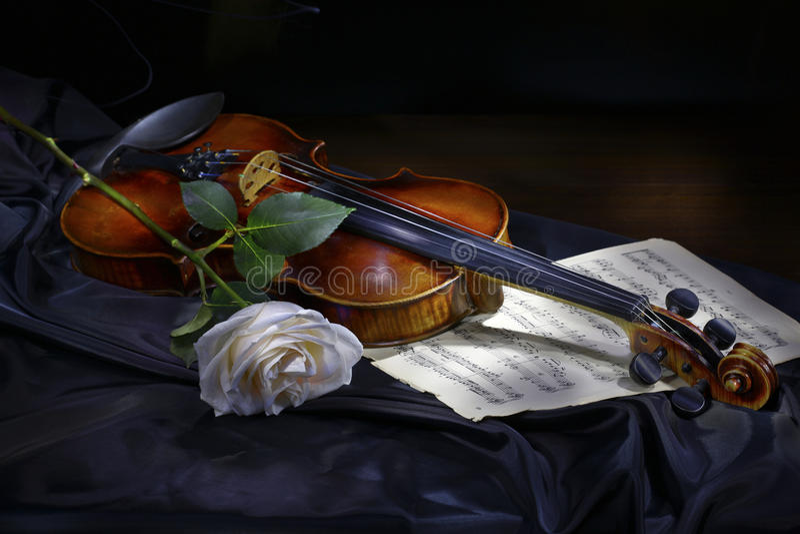 Il violino con è aumentato immagini stock