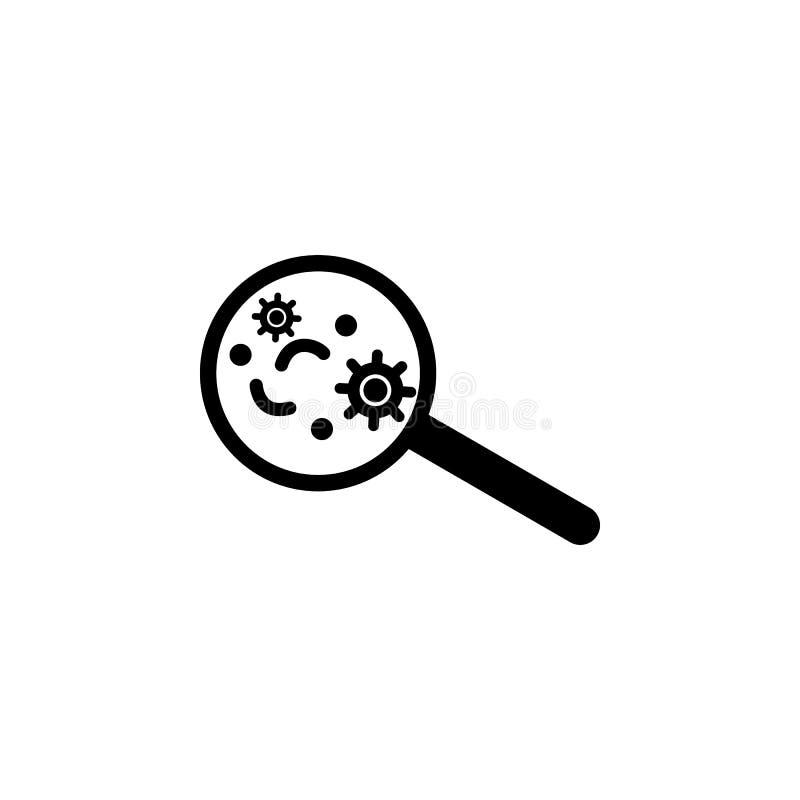 Il virus sotto ingrandice l'icona di vetro L'illustrazione piana del virus sotto ingrandice l'icona di vetro di vettore per web d illustrazione vettoriale