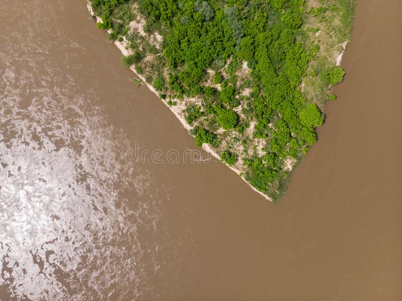 Il Vistola vicino al villaggio di Kepa Kielpinska, vista aerea immagine stock