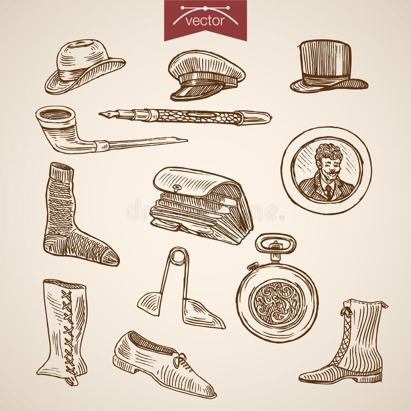 Il vittoriano copre il vettore dell'annata dell'incisione dell'orologio degli stivali dei calzini del cappello royalty illustrazione gratis