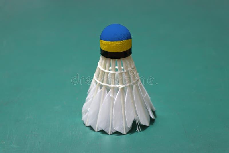 Il volano usato e sulla testa dipinta con la bandiera dell'Ucraina ha messo verticale sul pavimento verde del campo da badminton immagine stock libera da diritti
