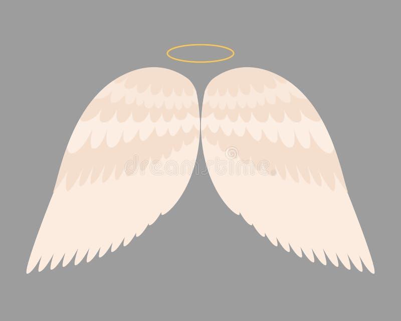 Il volo animale di libertà dell'uccello del pignone della piuma di angelo delle ali e la pace naturale di vita del falco progetta illustrazione di stock